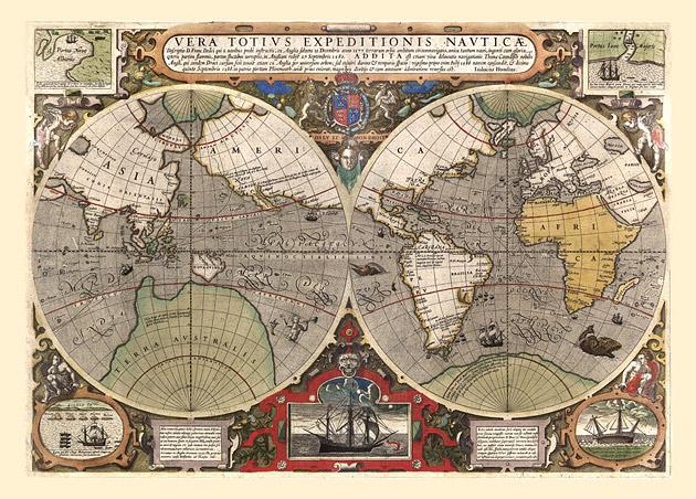 Wereldkaart 1595 Hondius Vera Totius