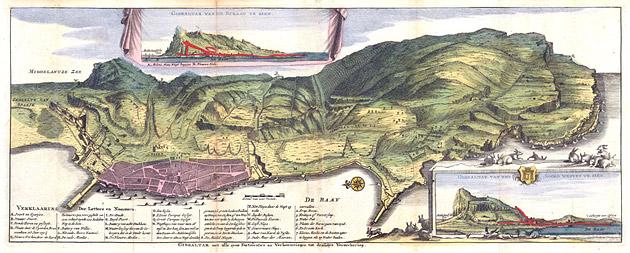 Gezicht op Gibraltar 1720 De la Feuille