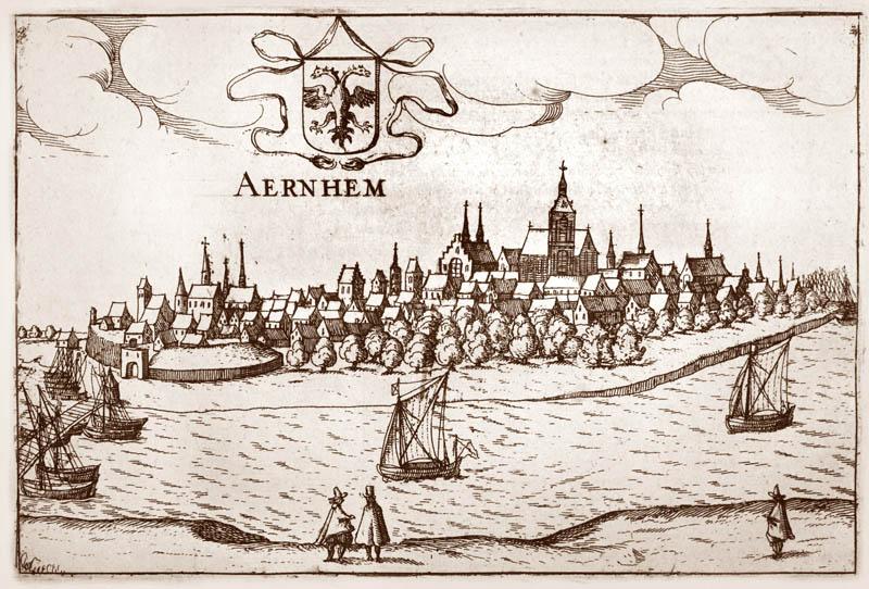 Gezicht op Arnhem 1613 Janssonius