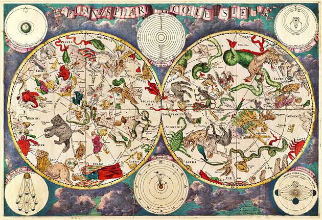 Planisphere Coeleste (Sterrenbeelden)1680 Frederik de Wit