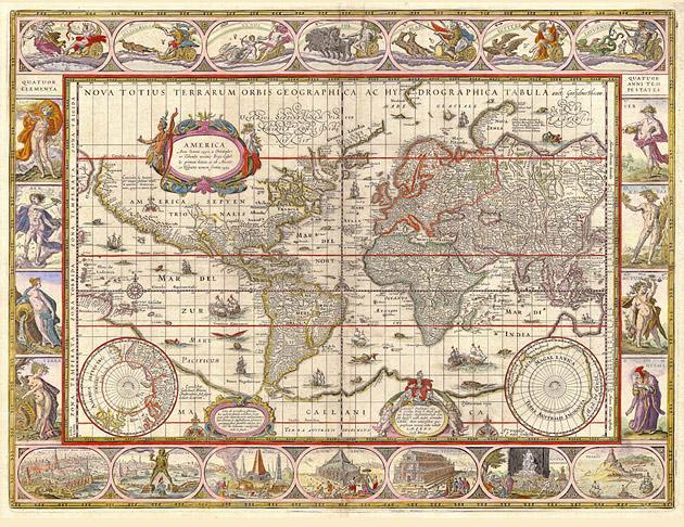 Wereldkaart 1649 Blaeu